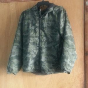 Boys/girls camel jacket w/ hoodie dark gray lining